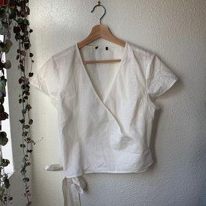 Linen tie crop top